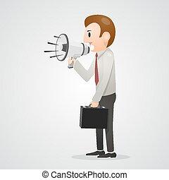 Office man shouting in megaphone