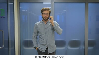 Office Manager is a long corridor and talking on the phone