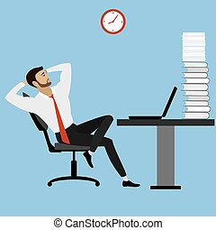 office manager or businessman relaxes after a lot of work,