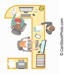 Office manager secretary reception work place layout vector flat plan details