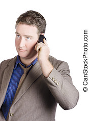 Office manager talking business on smartphone call