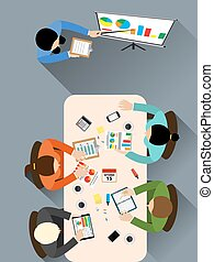 meeting room. Group of people working, planning, brainstorming idea of company strategy. Office table top view. Teamwork creative office workspace. Vector flat for business web infographic concept