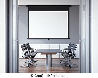 Office meeting room with wooden floor. 3d rendering