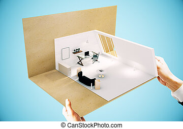 Hands holding office miniature on blue background. Sideview, 3D Rendering