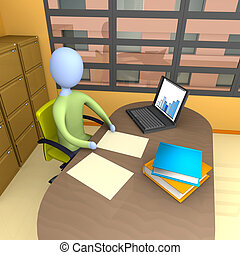 Office Moment - Business person doing some work in his...