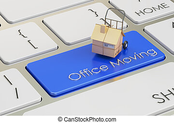 Office Move concept on red keyboard button, 3D rendering