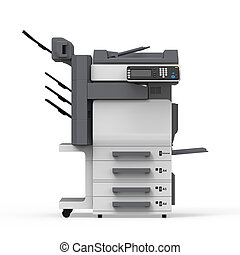 Office Multifunction Printer isolated on white background. ...