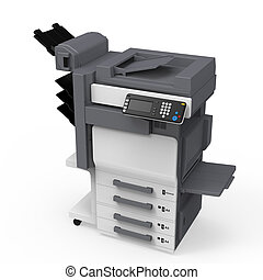 Office Multifunction Printer isolated on white background. 3D render