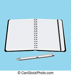 office notebook with pen vector illustration isolated