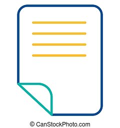 Office notes folder blue and yellow linear icon