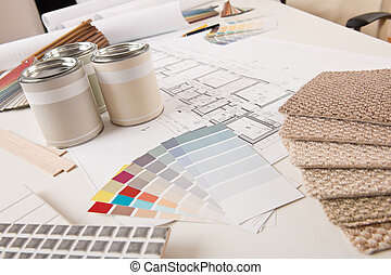 Office of interior designer with paint and color swatch on...