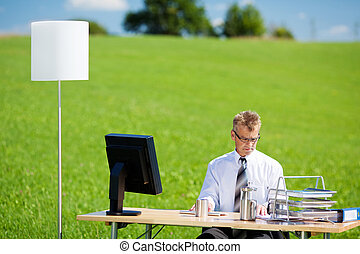 Office on green meadow - Young businessman working over the...