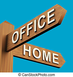 Office Or Home Directions On A Signpost - Office Or Home...