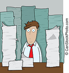 Office worker is faced with mounds of paper work.