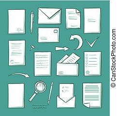 Office Paper and Magnifying Glass Icons Set Vector