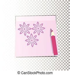 Office paper sticker sheet yellow with flowers