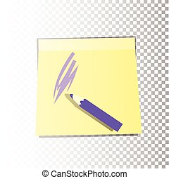 Office paper sticker sheet yellow with purple