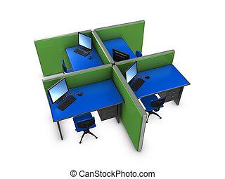 Office partition - 3d image, conceptual office partition