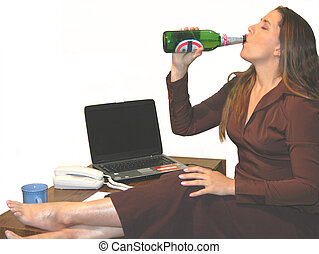 Office Party 4719 - office woman with a beer