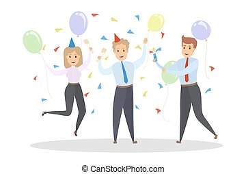 Office party illustration - Office party. Happy colleagues...