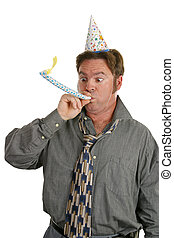 Office Party Noise Maker - A man at a party, wearing a party...
