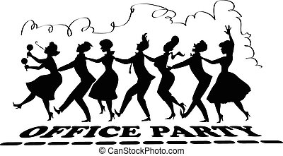 Office party silhouette - Black vector silhouette of group ...
