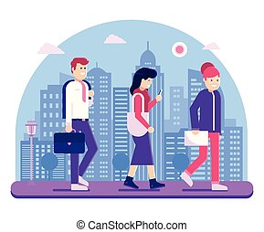 Office People Go to Work Concept Illustration