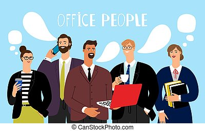 Office people talking. Business group meeting talks, vector...