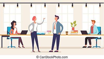 Office people team work concept. Vector graphic design flat cartoon illustration
