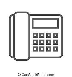 Office Phone Line Icon - Office Phone Thin Line Vector Icon...