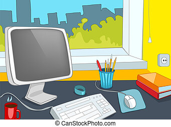 Office Place. Cartoon Background. Vector Illustration EPS 10...