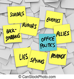 Many yellow sticky notes with words Office Politics, Scandals, Lies, Back-Stabbing, Spying, Rumors, Enemies, Allies, Revenge