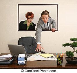 Office Portrait - Business team in portrait on wall stealing...
