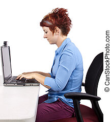 Office Posture - young woman demonstrating office desk...