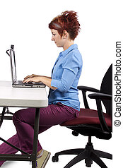 Office Posture - young woman demonstrating office desk ...