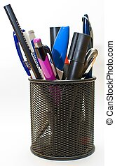 Office pot - Colored pen and pencil in office pot, isolated...