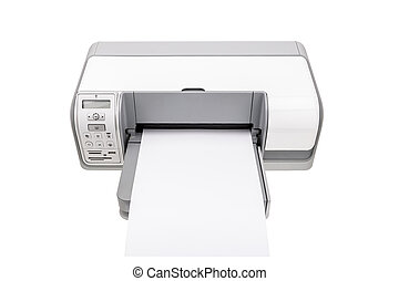 Office printer with a clean paper for text. Isolated on white background.