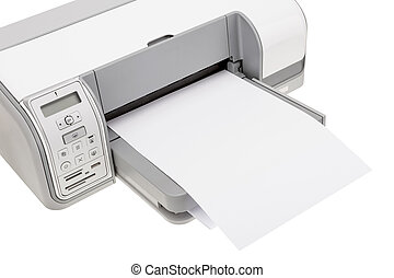Office printer with paper for printing text. Close-up.