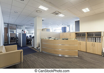 Office reception - Modern interior with reception desk, new...