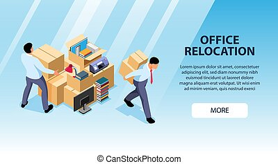 Office Relocation Horizontal Banner - Isometric office move ...
