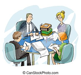 Employees work in the Office, meeting, verification of documents