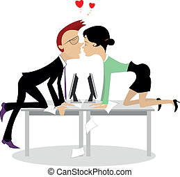 Office romance - Businessman and his receptionist fall in...