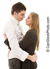 office romance - picture of happy couple in love over white
