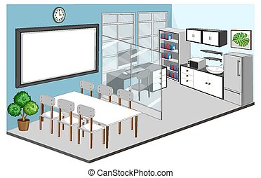 Office room and meeting room interior with furniture illustration