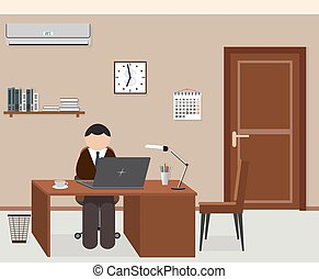Office room design interior with employee.