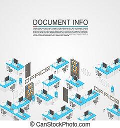 Office room it development art. Vector illustration