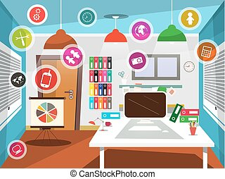 Office Room with Circle Vector Icons