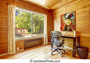 Office room with solid wood planks