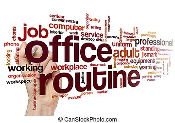 Office routine word cloud