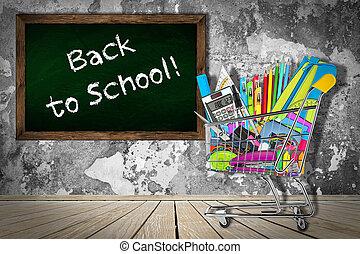 office / school supplies in shopping cart